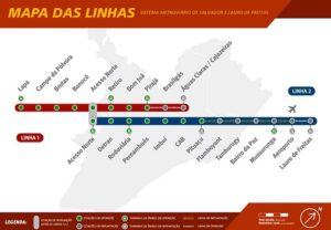 ALT = come muoversi a Salvador de Bahia, Brasile, mappa della metropolitana